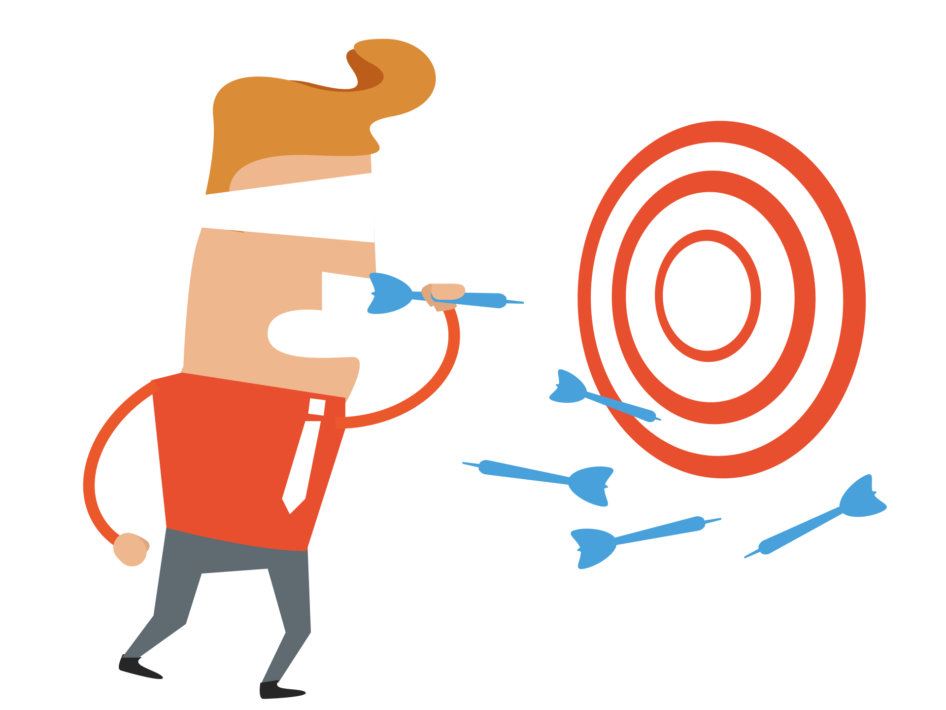 graphic of blindfolded man throwing darts, sales people aiming to sell